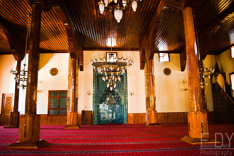 Inside view of Sahip Ata mosque in Konya (Anatolia)