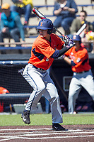 Illinois Fighting Illini second baseman Michael Massey (6) at bat against the Michigan Wolverines during the NCAA baseball game on April 8, 2017 at Ray Fisher Stadium in Ann Arbor, Michigan. Michigan defeated Illinois 7-0. (Andrew Woolley/Four Seam Images)