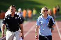 Sky Blue FC goalkeeper coach Rick Stainton and assistant coach Anne Parnila. The Philadelphia Independence defeated Sky Blue FC 2-1 during a Women's Professional Soccer (WPS) match at John A. Farrell Stadium in West Chester, PA, on June 6, 2010.