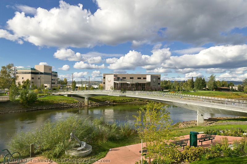 Centennial bridge in downtown Fairbanks which crosses the Chena River