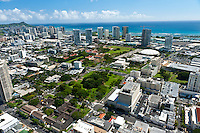 Aerial of Thomas Sq and the Blaisdell Center looking towards the ocean and Diamond Head