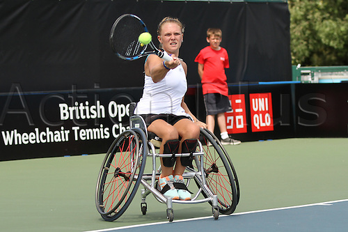 17.07.2015.  Nottingham Tennis Centre, Nottingham, England. British Open Wheelchair Tennis Championships. Jordanne Whiley (GBR) plays a forehand as she squares the match at 1 set all in the semi final against number 1 seed Jiske Griffioen (NED)