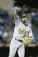 John Mabry of the Oakland Athletics before a 2002 MLB season game against the Los Angeles Angels at Angel Stadium, in Anaheim, California. (Larry Goren/Four Seam Images)