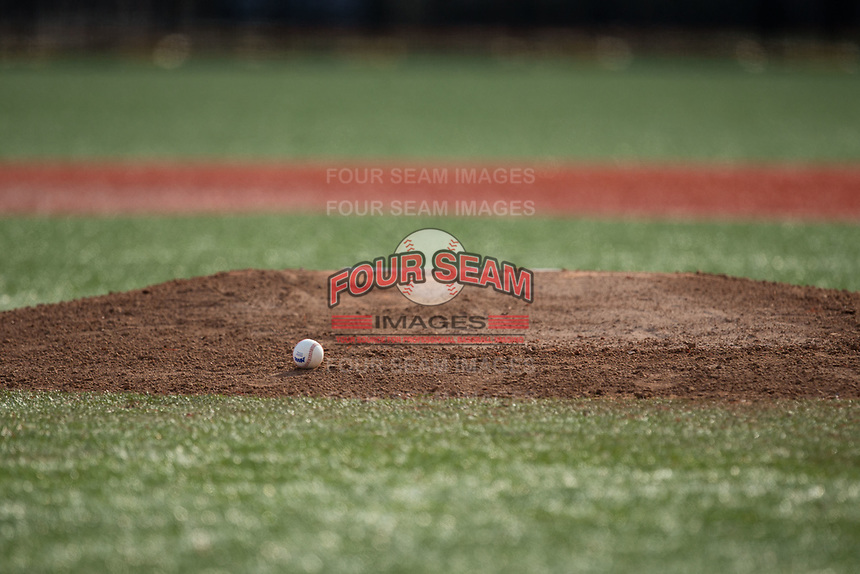 A MAAC baseball sits on the mound ready to be put to use during the NCAA baseball game between the Rutgers Scarlet Knights and the Iona Gaels at City Park on March 8, 2017 in New Rochelle, New York.  The Scarlet Knights defeated the Gaels 12-3.  (Brian Westerholt/Four Seam Images)