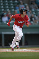 Left fielder Jordan Wren (3) of the Greenville Drive runs out a hit in a game against the Rome Braves on Friday, April 19, 2019, at Fluor Field at the West End in Greenville, South Carolina. Greenville won, 2-0. (Tom Priddy/Four Seam Images)