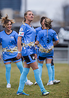 George Harrison (TOWIE) gets her team ready during the SOCCER SIX Celebrity Football Event at the Queen Elizabeth Olympic Park, London, England on 26 March 2016. Photo by Andy Rowland.