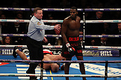 2nd February 2019 The O2 Arena, London, England; Boxing, European Super-Welterweight Championship, Sergio Garcia versus Ted Cheeseman; Undercard fight as Lawrence Okolie is rushed away by the referee as he knocks down Tamas Lodi