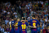 12th September 2017, Camp Nou, Barcelona, Spain; UEFA Champions League Group stage, FC Barcelona versus Juventus; Leo Messi of FC Barcelona celebrates the goal for 3-0 with Suarez, Jordi Alba and Ousmane Dembélé of FC Barcelona