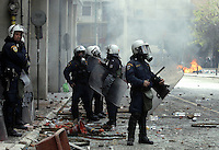 Pictured: Riot police Friday 12 February 2016<br /> Re: Violent clashes between farmers and riot police outside the Ministry of Agricultural Development in Athens, Greece. The farmers travelled from Crete to protest against pension and welfrae reforms proposed by the Greek government,