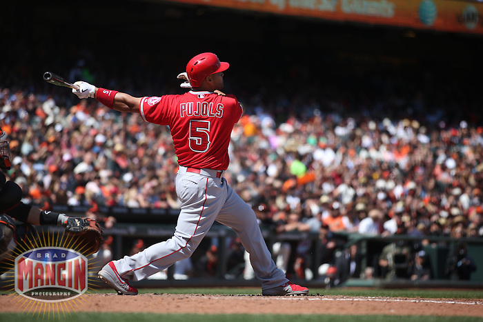 SAN FRANCISCO, CA - MAY 2:  Albert Pujols #5 of the Los Angeles Angels hits a home run against the San Francisco Giants during the game at AT&T Park on Saturday, May 2, 2015 in San Francisco, California. Photo by Brad Mangin