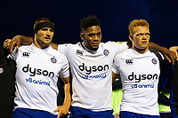 Victor Delmas, Levi Douglas and Miles Reid of Bath Rugby huddle together after the match. Pre-season friendly match, between Edinburgh Rugby and Bath Rugby on August 17, 2018 at Meggetland Sports Complex in Edinburgh, Scotland. Photo by: Patrick Khachfe / Onside Images