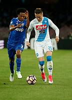 during the  italian serie a soccer match,between SSC Napoli and Juventus       at  the San  Paolo   stadium in Naples  Italy , April 02, 2017