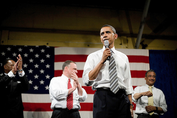"""Tuesday, May 8,  2007. Richmond, VA.. US Presidential candidate and senator Barack Obama, held what was billed as a """"low dollar fundraiser"""" at Plant Zero in Richmond, VA, drawing a crowd of 700 supporters.. He was joined on stage by (l to r) Chair of the Virginia Legislative Black Caucus Dwight Jones, VA Governor Tim Kaine and congressman Bobby Scott."""
