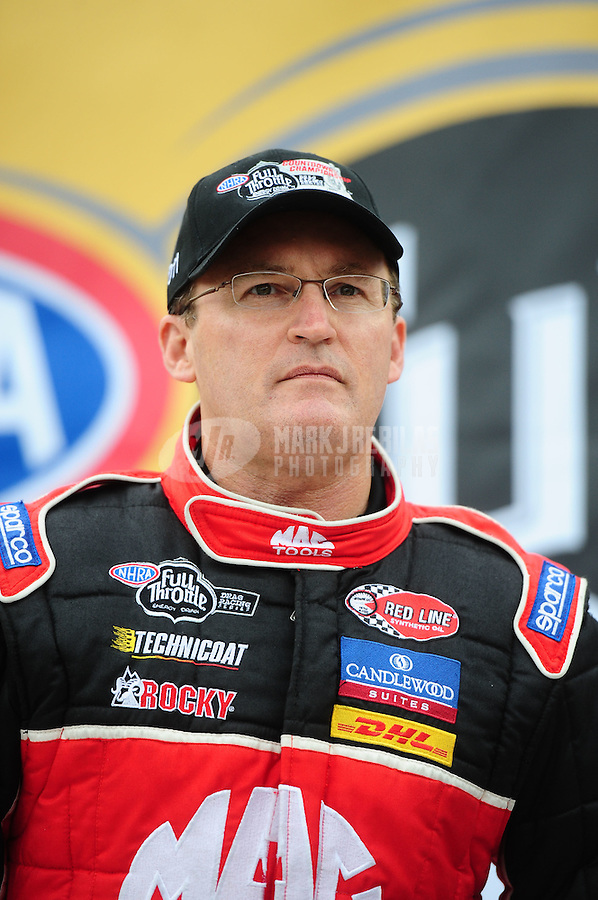 Sept. 16, 2011; Concord, NC, USA: NHRA top fuel dragster driver Doug Kalitta during qualifying for the O'Reilly Auto Parts Nationals at zMax Dragway. Mandatory Credit: Mark J. Rebilas-US PRESSWIRE