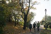 People enjoy the autumn mood of a public park in Budapest, Hungary on Oct. 20, 2017. ATTILA VOLGYI