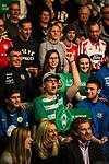 07.01.2018, Deutsches Fu&szlig;ballmuseum, Dortmund, GER, Auslosung DFB Pokal Viertelfinale, , <br /> <br /> im Bild | picture shows<br /> als einziger Bremer Fan darf dieser junge Mann das Schild mit dem Emblem des SV Werder halten und f&uuml;r die Bremer jubeln, <br /> <br /> Foto &copy; nordphoto / Rauch