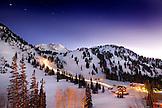 USA, Utah, Alta Ski Resort and mounatin at night
