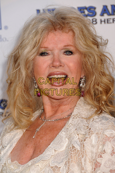 """CONNIE STEVENS .The 2008 Hero Awards """"Heroes Among Us"""" at the Universal Hilton Hotel, Universal City, California, USA..June 6th, 2008.headshot portrait white lace mouth open .CAP/ADM/BP.©Byron Purvis/AdMedia/Capital Pictures."""