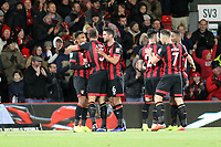 Bournemouth celebrate the first goal of the game scored by Junior Stanislas of Bournemouth during AFC Bournemouth vs Norwich City, Caraboa Cup Football at the Vitality Stadium on 30th October 2018