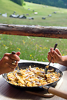 Toesens, Tiroler Oberland, Tyrol, Austria, June 2009. Eating kaiserschmarrn in a alm hut. Hiking in the green fields full of colourful flowers of the Pfundser Tschey Valley between the farmers sheds. The Region of the Tyrolian Highlands offer many different options for outdoor adventures, leisure and relaxing. Photo by Frits Meyst/Adventure4ever.com
