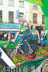 Cathal Walsh gets in some training on the Ring of Kerry cycle float at the Killarney parade on Saturday