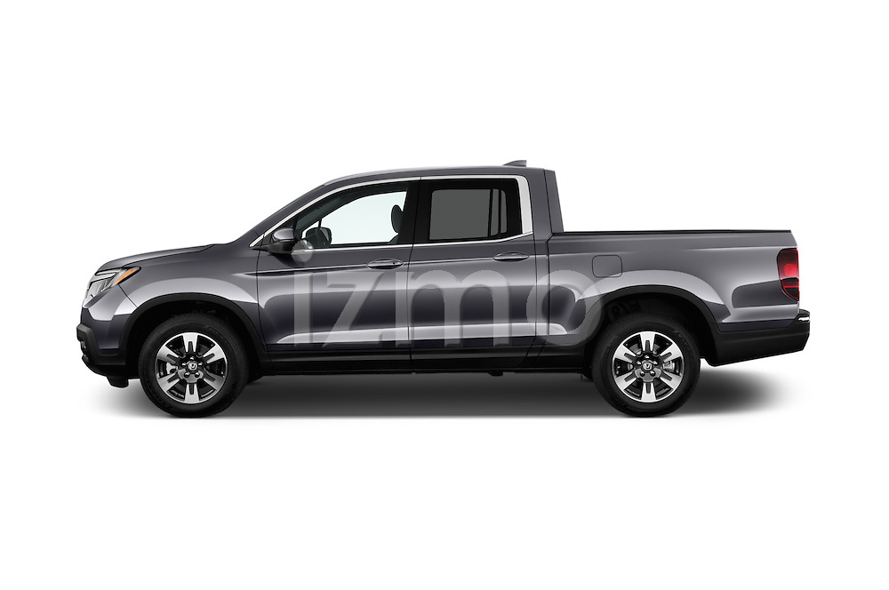 Car Driver side profile view of a 2017 Honda Ridgeline RTL-T 4 Door Pick-up Side View