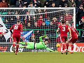 2nd February 2019, Easter Road, Edinburgh, Scotland; Ladbrokes Premiership football, Hibernian versus Aberdeen; Ofir Marciano of Hibernian saves a Gary Mackay-Steven of Aberdeen  penalty in the 47 min to keep the score at 2-1 for Aberdeen