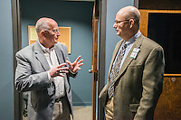 STAFF PHOTO ANTHONY REYES &bull; @NWATONYR<br /> John La Tour, left, incoming Fayetteville alderman, talks with Fritz Gisler, director of media services, Monday Dec. 29, 2014 during a tour of the Fayetteville Television Center in Fayetteville. La Tour was touring several city owned sites to learn more of what the city offers to citizens including Water &amp; Sewer offices, Fayetteville Animal Shelter, Transportation and Fleet divisions among other sites and offices.