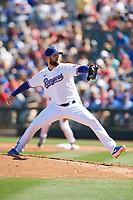 Texas Rangers starting pitcher Jordan Lyles (24) delivers a pitch during a Cactus League Spring Training game against the Los Angeles Dodgers on March 8, 2020 at Surprise Stadium in Surprise, Arizona. Rangers defeated the Dodgers 9-8. (Tracy Proffitt/Four Seam Images)
