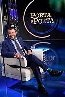 Matteo Salvini indossa calzini verdi a strisce<br /> Matteo Salvini wearing striped green socks<br /> Roma 20/06/2018. Il Ministro dell'Interno ospite della trasmissione tv Porta a Porta.<br /> Rome 20th of June. Italian Minister of Internal Affairs appears as a guest on the talk show Porta a Porta .<br /> Foto Samantha Zucchi Insidefoto