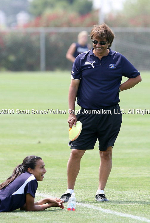 21 August 2009: Los Angeles head coach Abner Rogers and Marta (BRA) (below). The Los Angeles Sol held a training session at the Home Depot Center in Carson, California one day before playing Sky Blue FC in the inaugural Women's Professional Soccer Championship Game.