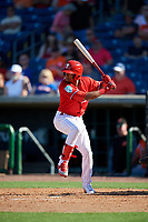 Philadelphia Phillies second baseman Daniel Brito (11) at bat during a Grapefruit League Spring Training game against the Baltimore Orioles on February 28, 2019 at Spectrum Field in Clearwater, Florida.  Orioles tied the Phillies 5-5.  (Mike Janes/Four Seam Images)