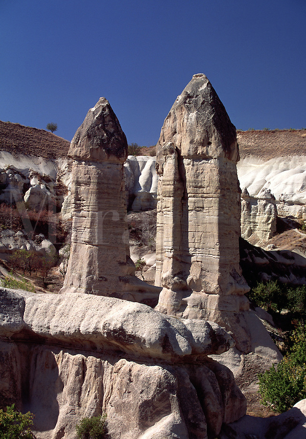 Eroded Rock Earth Formations Central Anatolia Region Cappadocia Turkey.