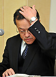 January 18, 2012, Tokyo, Japan - President Shuichi Takayama of scandal-tinted Olympus speaks during a news conference in Tokyo on Wednesday, January 18, 2012. Takayama said the current leadership, including Takayama himself, would remain in office for another three months as the camera and medical equipment maker prepared for an extraordinary shareholders' meeting in the latter half of April...Olympus set up the news conference a day after the company-appointed independent panel cleared auditing firms from responsibility for the company's accounting scandal but found five current and former individual auditors culpable, which means Olympus won't take legal action against its outside accounting firms for failing to uncover a 13-year effort to hide $1.5 billion in investment losses. (Photo by Natsuki Sakai/AFLO) AYF -mis-.