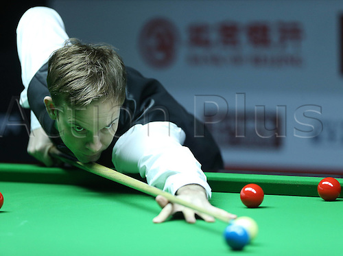 29.03.2016. Beijing, China,  Allister Carter of Britain reacts during the match against Mark King of Britain at the 2016 World Snooker China Open in Beijing, China, March 29, 2016.