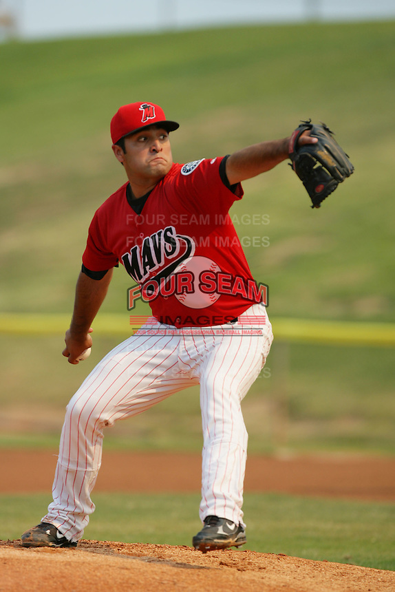 September 7 2009: Andres Esquibel of the High Desert Mavericks during game against the Modesto Nuts at Maverick Stadium in Adelanto,CA.  Photo by Larry Goren/Four Seam Images