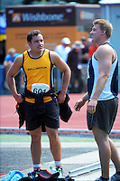 Shot putters Ben Power (left) and Jacko Gill chat on day three of the 2015 National Track and Field Championships at Newtown Park, Wellington, New Zealand on Sunday, 8 March 2015. Photo: Dave Lintott / lintottphoto.co.nz