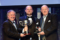 Stephen Fagan, Harolds Cross Musical Society, Dublin who won Best Ensemble / Gilbert Section for the show Brotherhood of Man receiving the trophy from on  left, Colm Moules, President, AIMS and Seamus Power, Vice-President at the Association of Irish Musical Societies annual awards in the INEC, KIllarney at the weekend.<br /> Photo: Don MacMonagle -macmonagle.com<br /> <br /> <br /> <br /> repro free photo from AIMS<br /> Further Information:<br /> Kate Furlong AIMS PRO kate.furlong84@gmail.com