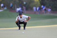 Francesco Molinari (ITA) on the 18th green during the 1st round of the DP World Tour Championship, Jumeirah Golf Estates, Dubai, United Arab Emirates. 15/11/2018<br /> Picture: Golffile | Fran Caffrey<br /> <br /> <br /> All photo usage must carry mandatory copyright credit (© Golffile | Fran Caffrey)