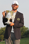 May 8,2011 - Lucas Glover proudly holds the winning trophy and dons the winners jacket from Quail Hollow.  Lucas Glover wins the tournament in sudden death over Jonathan Byrd at Quail Hollow Country Club,Charlotte,NC.