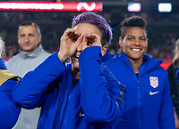 CARSON, CA - FEBRUARY 7: Megan Rapinoe #15 of the United States looks into the crowd during a game between Mexico and USWNT at Dignity Health Sports Park on February 7, 2020 in Carson, California.