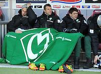 FUSSBALL   1. BUNDESLIGA   SAISON 2011/2012    20. SPIELTAG  05.02.2012 SC Freiburg - SV Werder Bremen Marko Arnautovic (SV Werder Bremen) , Lukas Schmitz (SV Werder Bremen) und Sebastian Boenisch (SV Werder Bremen) v.li.