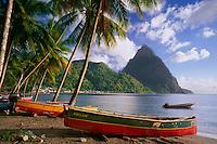 Soufrier Bay and Petit Piton<br /> Soufriere,  Caribbean Sea<br /> St. Lucia,  Windward Islands<br /> Lesser Antilles