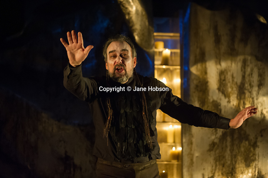 London, UK. 11.02.2014. English Touring Opera presents KING PRIAM in the Linbury Studio at the Royal Opera House. Picture shows:  Roderick Earle (Priam). Photograph © Jane Hobson.