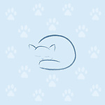 Cute blue sleeping cat artistic illustration, minimalistic design with white paw prints on light blue background