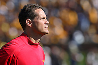 Iowa State Cyclones Head Coach Gene Chizik walks off the field after the first half at Memorial Stadium in Columbia, Missouri on October 27, 2007. The Tigers won 42-28.