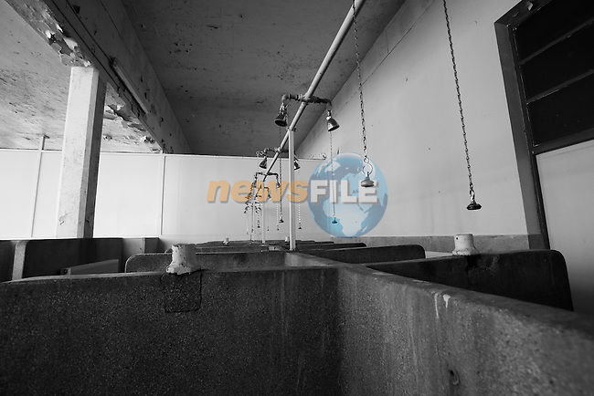 The famous showers of the old Velodrome, site of the Paris-Roubaix finish in Roubaix, France 5th April2013 (Photo by Eoin Clarke 2013)