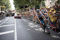 finish-line joy-ride by European Champion Matteo Trentin (ITA/Mitchelton-Scott) who wins stage 17, the 4th stage win by his Mitchelton-Scott team<br /> <br /> Stage 17: Pont du Gard to Gap(206km)<br /> 106th Tour de France 2019 (2.UWT)<br /> <br /> ©kramon
