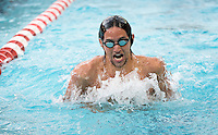 Steven van Deventer '15 in the men's 100 yard individual medley, IM. The Occidental College swim team competes against Lewis & Clark College and Westminster College in Taylor Pool on Jan. 6, 2015. (Photo by Marc Campos, Occidental College Photographer)