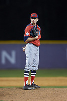 NJIT Highlanders relief pitcher Chris Gibbons (31) looks to his catcher for the sign against the High Point Panthers at Williard Stadium on February 18, 2017 in High Point, North Carolina. The Highlanders defeated the Panthers 4-2 in game two of a double-header. (Brian Westerholt/Four Seam Images)